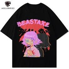AOLAMEGS Sanglante Blessés Bd Fille Imprimer T-shirt Hommes D'otaku Anime T-shirt Hauts D'été Décontracté Mode Haute Rue Harajuku Streetwear