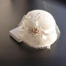 Женская кружевная шляпка Вуалетка sinamay модный головной убор