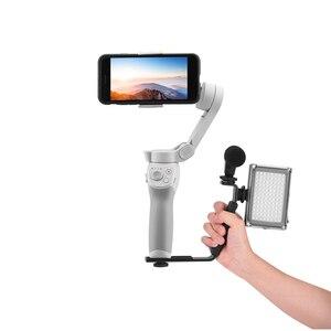 Image 4 - L בצורת ידית מחזיק עבור DJI OM 4 אוסמו נייד 3 2 מייצב חצובה הארכת מוט LED וידאו אור הר מיקרופון סוגר