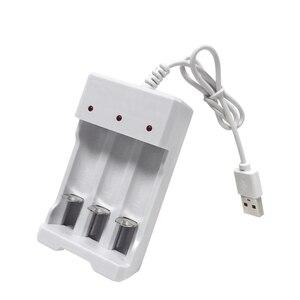 Image 2 - VOXLINK cargador de batería USB con 3 ranuras, cable USB para cargador de pilas recargables AA/AAA para cámara de micrófono de control remoto