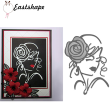 Beautiful Woman with Rose on Her Head Metal Cutting Dies for Scrapbooking New 2019 Die Cuts Card Making Stitch Craft