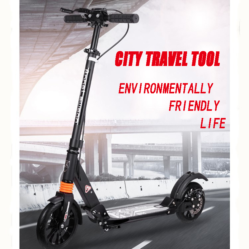 New Portable Foldable Aviation Aluminum Alloy Adjustable Scooter Double Shock Absorption City Transport Tool Load Bearing 100kg