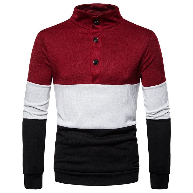 Mens Striped Jumper Sweater Men Sueter Leisure Splice High Neck Pullover Men's Button Design Gray Red