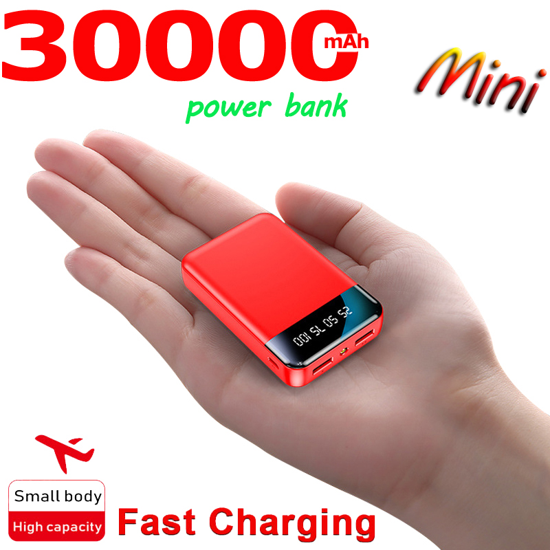 Mini Power Bank 30000MA Portable Charger Outdoor Power SluppyTravel Power Bank Digital Display LED Lighting for Xiaomi Samsung 6