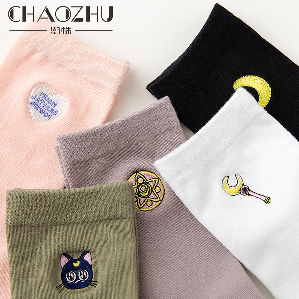 CHAOZHU 2019 New Girls Women Fashion Sailor Moon Embroidery Cotton Knitting High Quality Soft Causal Lady Socks Calcetines
