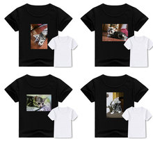 Children T-shirt boy tops kitten print summer Harajuku casual  short-sleeved T-shirt girls clothes baby clothes kids clothes