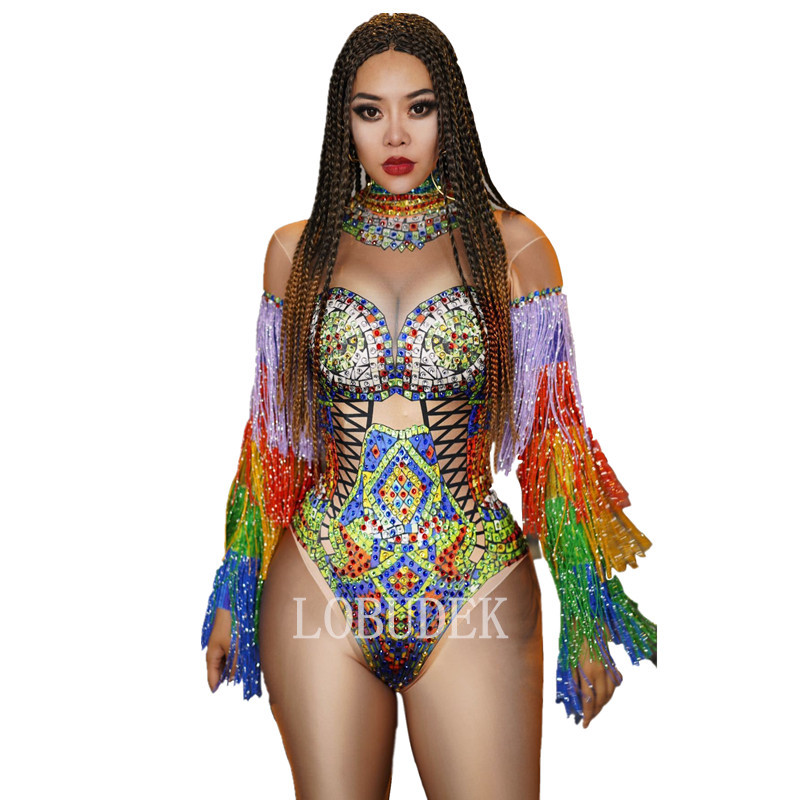 Multi-color Rhinestones Tassel Sleeve Bodysuit Women DJ Singer Bar Sexy Costume Club Party Dancer Crystals Fringe Bodysuits