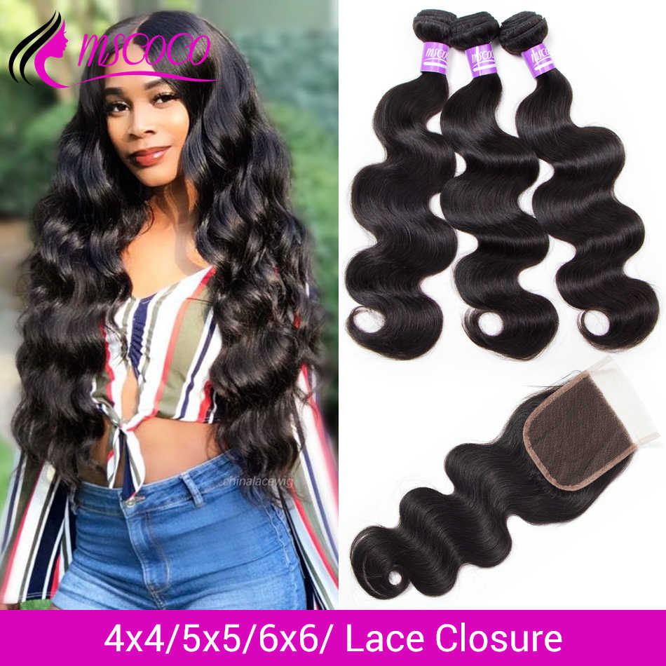 Mscoco Hair Brazilian Body Wave Bundles With Closure 6x6 5x5 Closure With Bundles Remy Human Hair 30 Inch Bundles With Closure