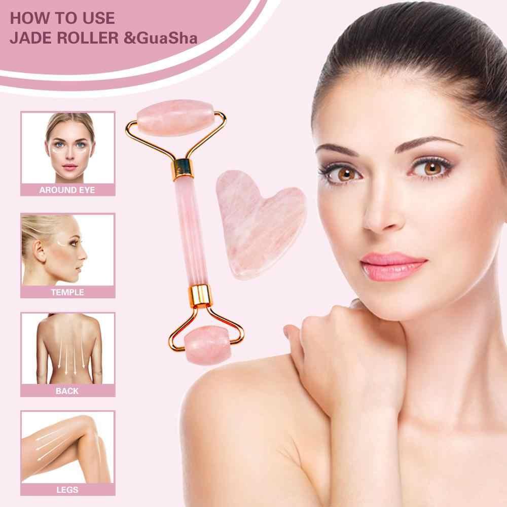 3 in 1 Rose ควอตซ์ Roller และ Gua Sha น้ำมันหอมระเหยขวดน้ำมันสำหรับนวด Face skin care