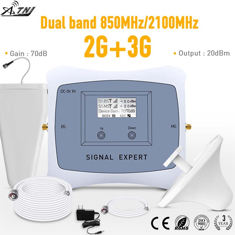 ATNJ 2G 3G Signal Booster Dual Band 850/2100MHz Mobile Signal Booster Cell Phone Repeater For Home Use