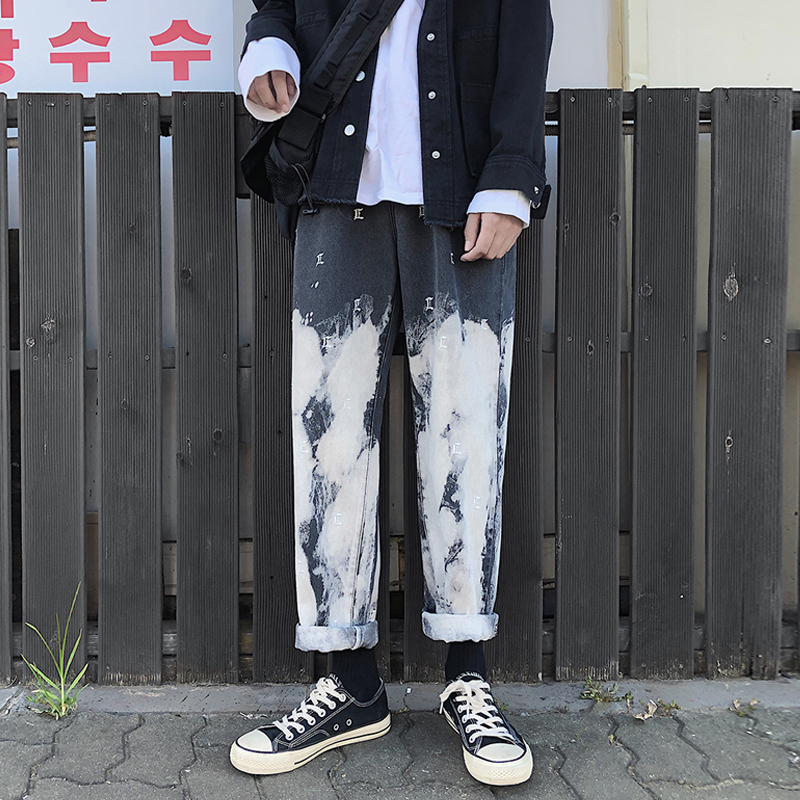 Camo Jeans Men Fashion Washed Vintage Tie Dye embroidery Casual Denim Pants Man Streetwear Hip Hop Loose Straight Jeans S-2XL