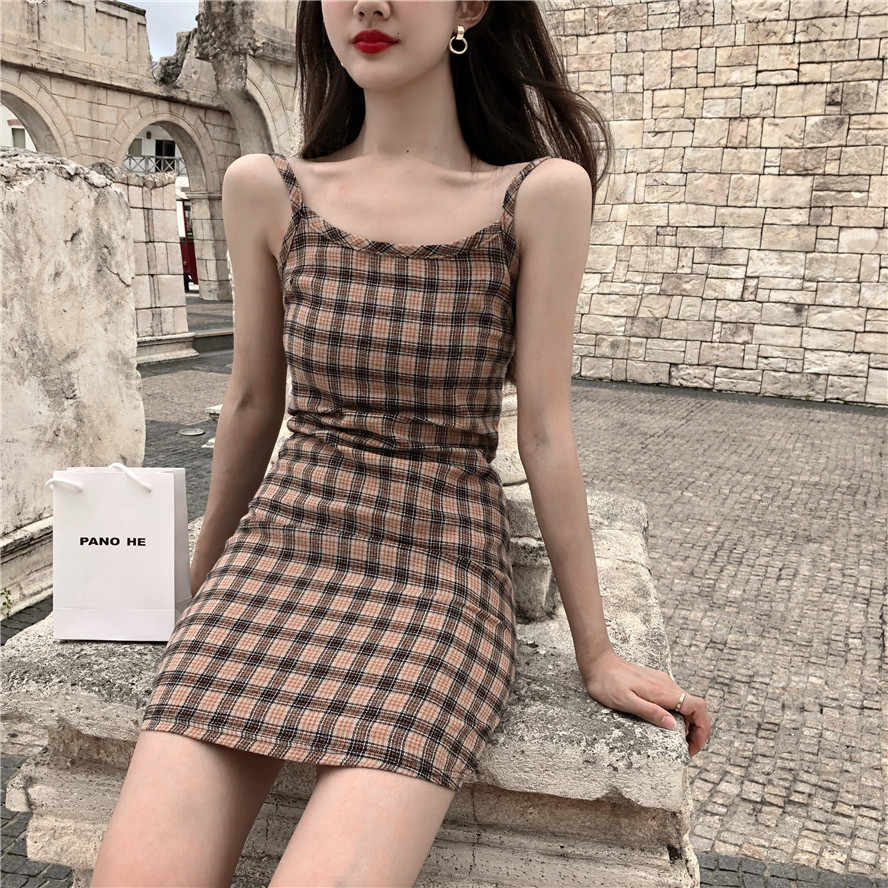 Summer Dress 2019 Korean Style Sexy Plaid Spaghetti Strap Slim Mini Party Dress Women Casual Beach Sundress Vestidos Dresses Aliexpress