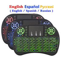Miniteclado inalámbrico I8 retroiluminado, 7 colores, ratón, 2,4 ghz, USB, para portátil, TV inteligente, inglés, ruso, con panel táctil