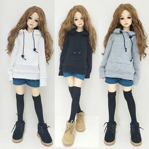 Doll Clothes Accessories Clothes 1/3 1/4 1/6 SD BJD Sweatshirt Dolls White Cap Sweatshirts Black Cotton Thread Toys For Children(China)