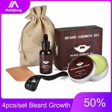 Kit de croissance de Barbe pour hommes, ensemble de 4 pièces, Essence, huile, rehausseur, baume nourrissant, après-shampoing, avec peigne, rouleau, soins du visage