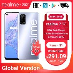 Realme 7 5G глобальная версия Dimensity 800U смартфон 6 ГБ 128 120 Гц Дисплей мобильный телефон 48MP Cam 5000 мА/ч, 30W Дротика зарядка NFC