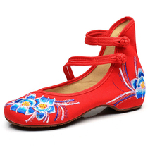 Classic Women Shoes Old Beijing Mary Jane Flats Chinese Style Embroidered Cloth Buckle Strap Shoes Woman Casual Canvas Shoes old beijing cloth shoes stripe shallow mouth new style women flats shoes