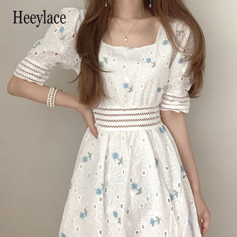 Embroidery Hollow Out Dress Women Korean Chic Square Collar Puff Sleeve Dresses Femme Fashion Slim Waist Sweet Vestidos
