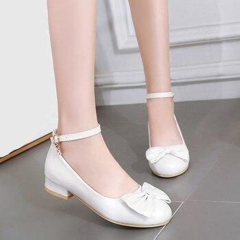 Ladies Ankle Strap Low Chunky Heel Wedding Shoes Bride White Bowtie Lolita Party Dress Shoes Women Pumps Plus Size Heels