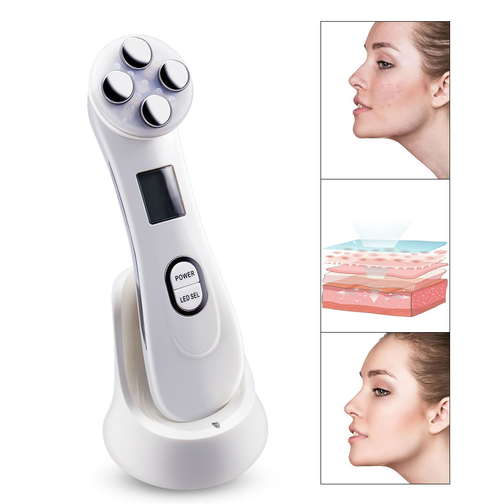 RF&EMS Electroporation Mesotherapy 5 Color LED Photon Light Therapy Skin Care Device Face Lift Tighten Massage Beauty Machine