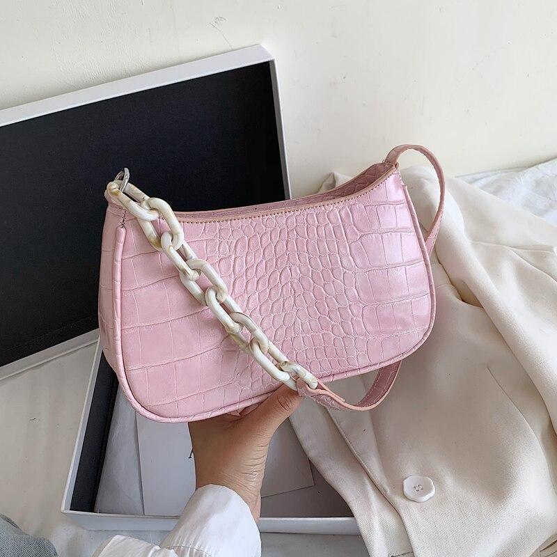 Small PU Leather Crocodile Pattern Shoulder Bags For Women 2020 Elegant  Handbags Female Chain Design Totes Lady  Hand Bag