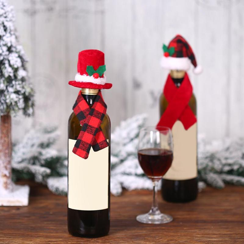 Cute Christmas Hat Scarf Red Wine Bottle Cover Bags Dinner Table Xmas Decor Wine Bottle Christmas Wine Bottle Covers Gifts