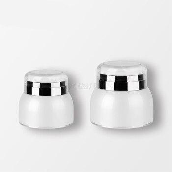 Frasco blanco sin aire de 50g, tapa transparente de plata, frasco de crema sin aire para el envasado de suero/crema/esencia 300 unids/lote