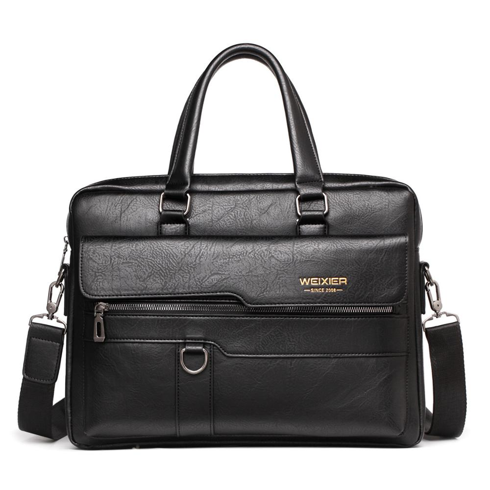 2020 Men Briefcase 14 Inches Leather Shoulder Bag For Man Large Capacity Briefcase Male Computer Bag Business Men Crossbody Bags