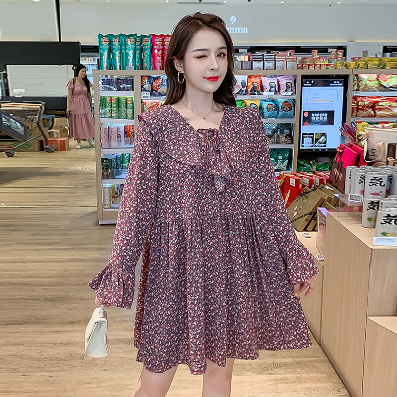 Loose Chiffon Floral Dress Women Autumn New Korean Style Lace up Long Sleeve White Dress Elegant Harajuku Kawaii Mini Robe Femme in Dresses from Women 39 s Clothing