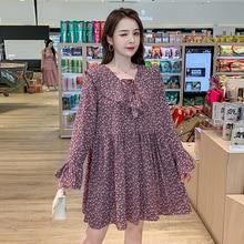 Loose Chiffon Floral Dress Women Autumn New Korean Style Lace-up Long Sleeve White Elegant Harajuku Kawaii Mini Robe Femme