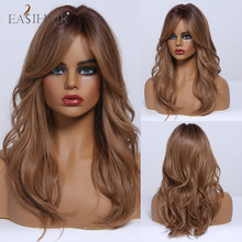 Female Wig Side-Part Cosplay Brown Women Synthetic-Hair-Wigs Heat-Resistant Natural-Wave