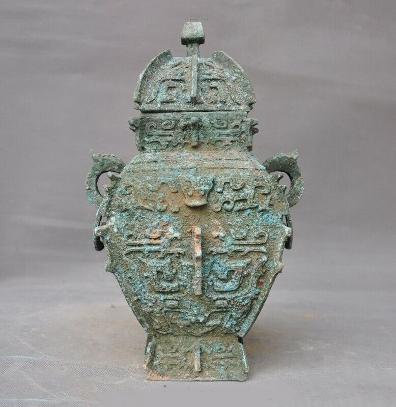 Wedding Decoration Shang Zhou Dynasty Bronze Ware Beast Pattern Wineware Zun Bottle Pot Jar Statue