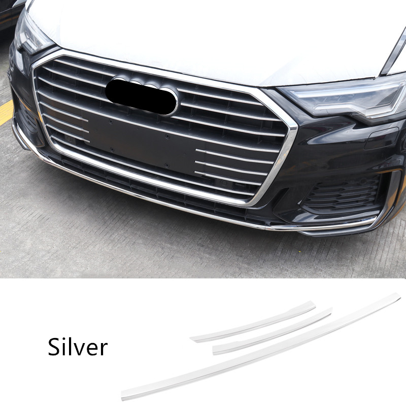 Car Styling Stainless Steel Strips For <font><b>Audi</b></font> <font><b>A6</b></font> C8 <font><b>2019</b></font> Front Bumper Decoration Cover Trim Exterior Stickers Auto Accessories image