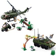SLUBAN Alien Predator M18 Armored Vehicle Helicopter Building Block Sets Movie Classic Kids Toys Gift Marvel