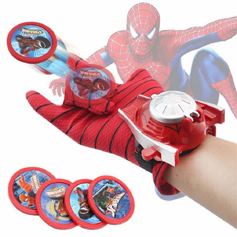 Kids Spiderman Cosplay Costume Spider-man Glove Spider Man Batman Superman Launchers Toy Emitter Halloween Gift