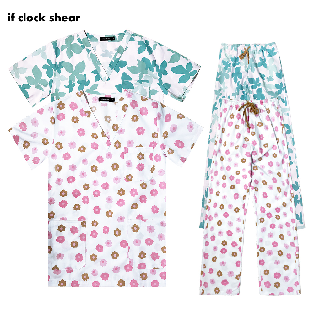 Short-sleeved Medical Uniform Printing Hospital Doctor Nurse Dental Clinic Beauty Salon Workwear Clothes Uniform Tops/pant/Suits
