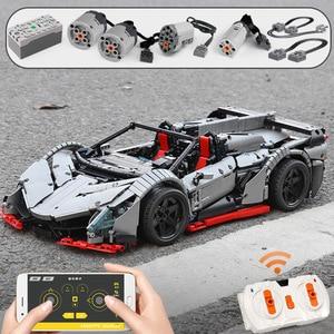 Image 2 - 3427PCS MOC RC Technic Car The Veneno Roadster Power Function Car model Building Blocks Bricks Kids DIY Toys Christmas Gifts