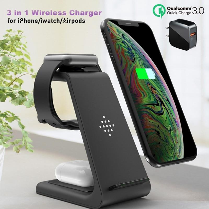 3 in 1 Wireless Ladegerät 10W Schnelle Lade für iPhone 11 pro/XR/Xs Max Samsung für apple Uhr 5 4 3 Airpods pro mit EU Ladegerät