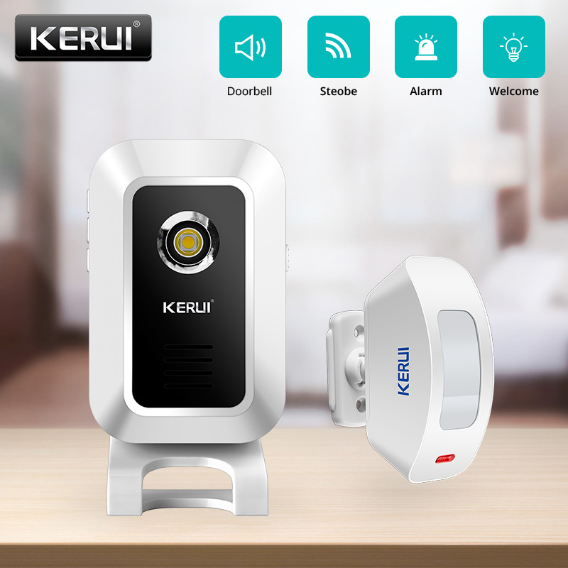 Doorbell Wireless 433MHz KERUI M7 Motion Detection Wireless Strobe Light Welcome Chime Doorbell Burglar Convertible Alarm System