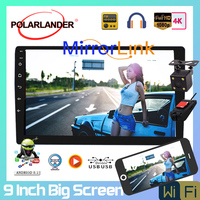 2 Din 9'' Android 8.1 Amplifier Bluetooth FM Black Car Radio Android GPS Navigation Quad Core Large Screen Upgraded Mirror Link