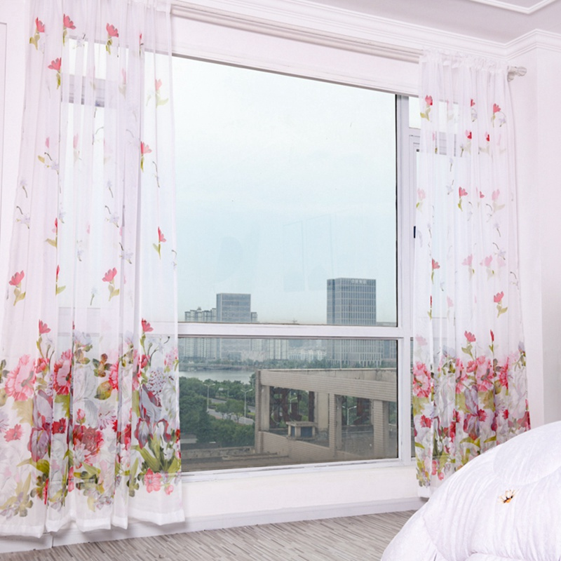 Purple Flower Tulle Curtains for Living Room Bedroom Kitchen Sheer Window Treatment Modern Short Curtain Panel Drape