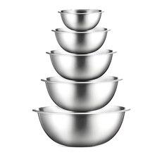 304 миска для смешивания из нержавеющей стали, сделай сам, миксер для торта, хлеба, салата, кухонные инструменты для приготовления пищи, контейнер для хранения еды, набор чаш
