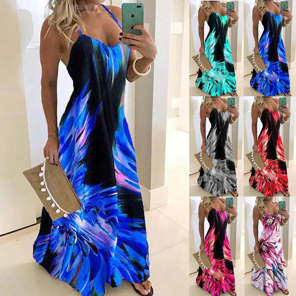 Women Summer V Neck Print Long Dress Sexy Spaghetti Strap Loose Party Dress Plus Size Boho Beach Casual Dresses Plus Size 5XL