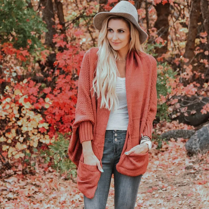 New Fashion Knit Sweater for Women Cardigan Batwing Sleeve Plus Size  Winter Knitting Coat S-XL