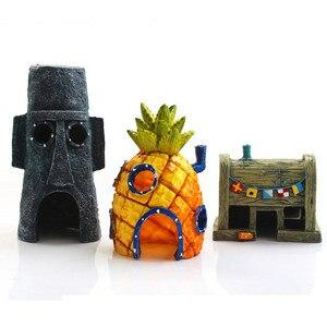 Mini Aquarium Voor Spongebob & Squidward Huis Ananas Cartoon Thuis Fish Tank Decor(China)