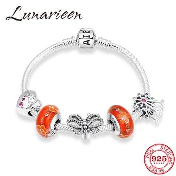 Beautiful Memories 925 Sterling Silver Bracelets Murano Glass Colorful CZ Heart Beads Snake Chain Bracelets Women Party Jewelry