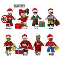 PG8185 Merry Christmas Harley Quinn Wolverine Deadpool Superma Tree Man Spider-man Spiderman Captain American Building Blocks