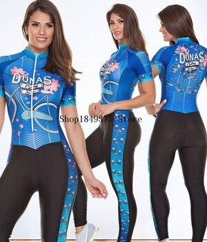 Macacão feminino triathlon profissional, roupa de ciclismo, camisa de manga curta, calça longa, macacão para andar de bicicleta 1