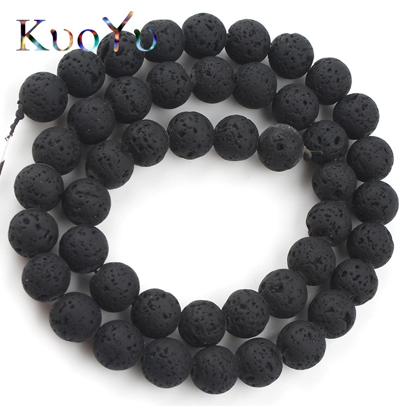 Lot Natural Stone Volcano Lava Round Loose Beads For DIY Jewelry Making 8MM