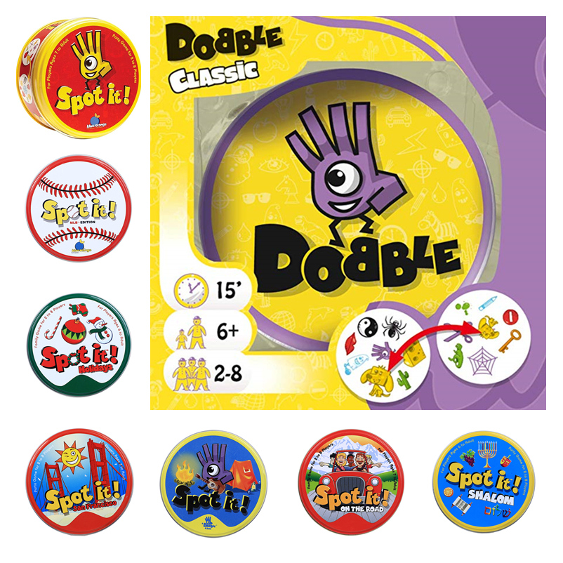 Spot It And Dobble Card Game Table Board Game For Dobbles Kids Spot Cards It Go Camping Metal Tin Box Toys Family Party Game